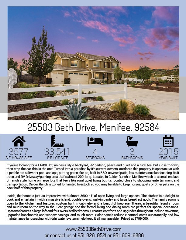 25502 Beth Drive Property Flyer Page 1