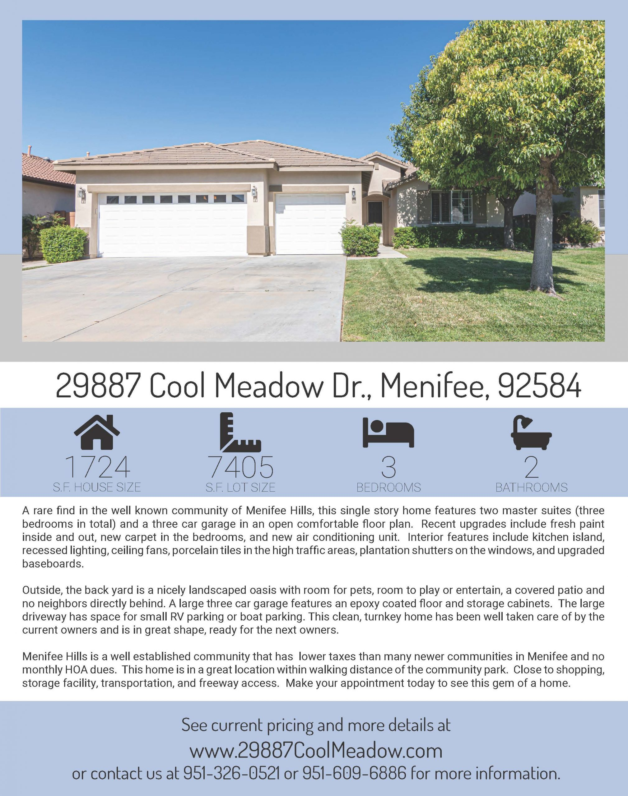Flyer page 1 for 29887 Cool Meadow Dr.